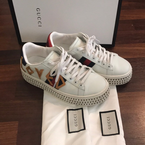 084bb680ff1 Gucci Crystals Platform Web Ace Sneakers 505995 Grid Pink 2017